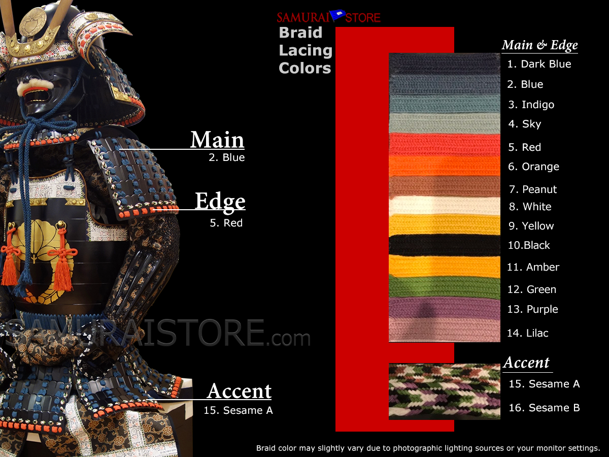 Available braid lacing colors for samurai armor