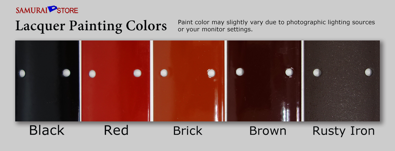 Available lacquer painting colors for samurai armor